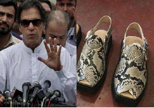 पाकिस्तान में प्रधानमंत्री इमरान खान के लिए बनाये गये सांप की खाल के सैंडल जब्त