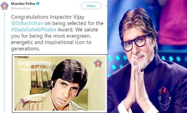 मुंबई पुलिस ने अमिताभ को बधाई दी, याद किया 'इंस्पेक्टर विजय' का किरदार